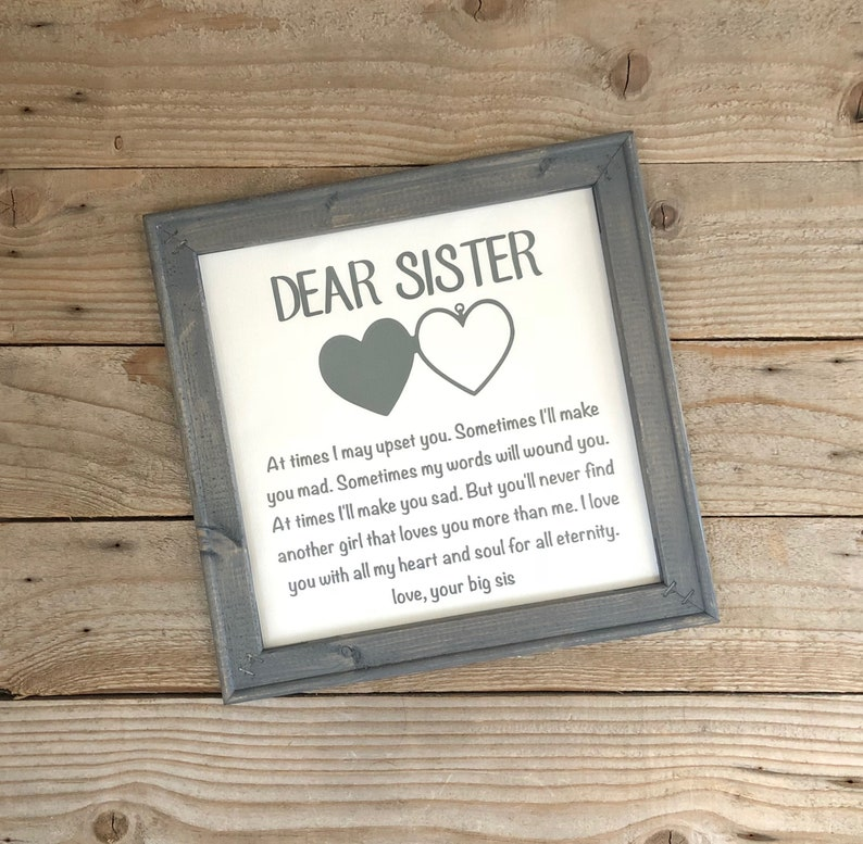 Reverse Canvas Gift For Sister Birthday Gifts Wedding