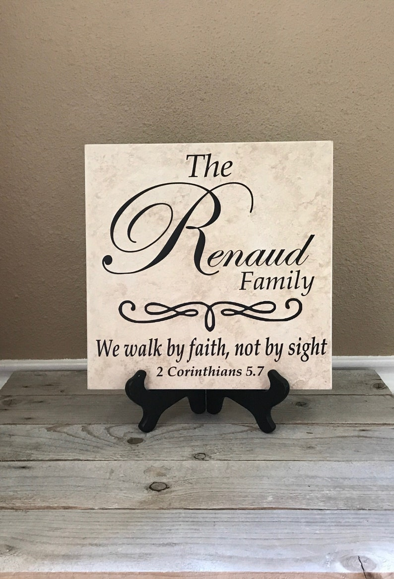 Personalized Sign Name Tile Family Name Gifts Wedding image 0