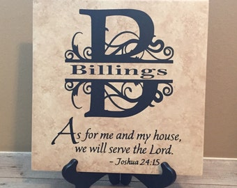 Personalized Scripture Sign Tile, Religious Gifts, Gift for Family Housewarming, Pastor Gift, Gift for Friend, Birthday Gift for Friend