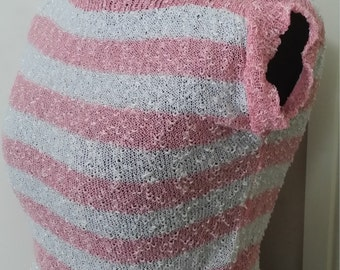 Handmade knitted 1940's style stripped light weight slash neck top