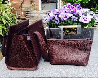 Vilten handtas met pastelkleurige voering • Dames tas
