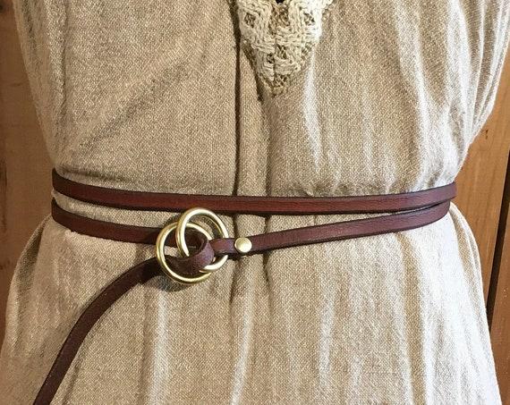 """1/4"""" Wide Women's Brown Leather Wrap Belt"""