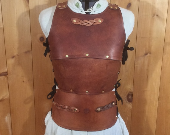 Women's Cuirass Braided Brown Leather Chest Armor