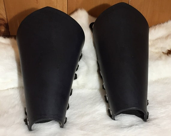 Women's Black Leather Bracers Pair