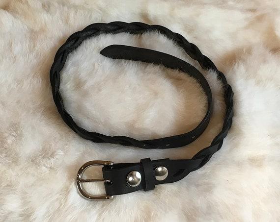"""Black Braided Leather Women's Belt 1"""" Wide"""