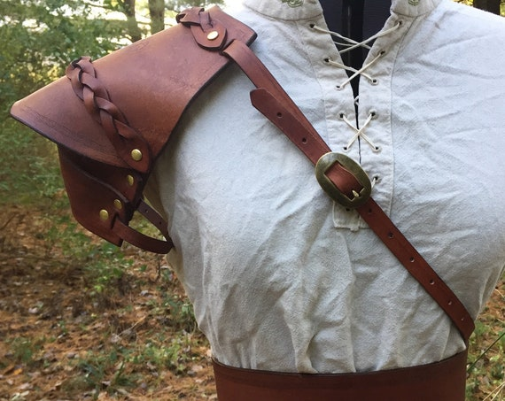 Women's Braided Brown Leather Pauldron