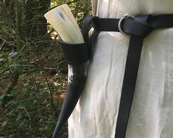 Black Leather Drinking Horn Holder Belt Frog
