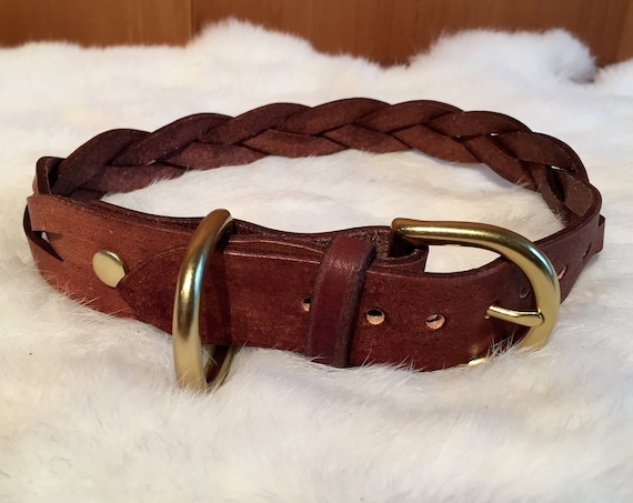Braided Brown Leather Dog Collar With Traditional Buckle