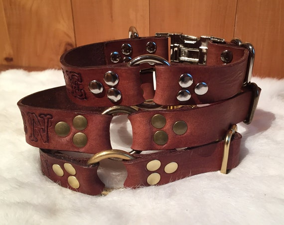 Personalized Brown Leather Dog Collar With Quick-Release Buckle And Ring