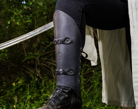 Women's Black Braided Leather Leg Armor Pair (Greaves)