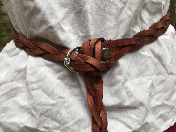 "Women's Brown Braided Leather Ring Belt 1"" Wide"