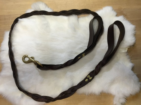 Braided Leather Dog Leash With Two Handles