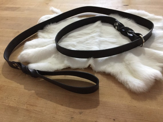 Black Leather Dog Slip-Lead