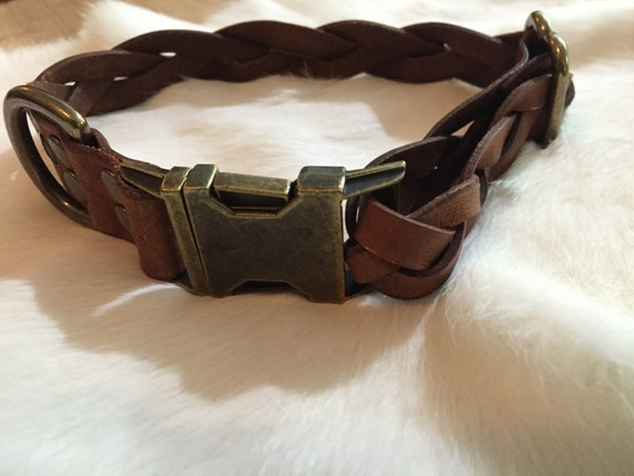 Brown Braided Leather Dog Collar With Quick-Release Buckle