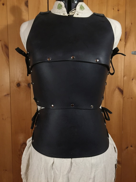 Women's Cuirass Black Leather Chest Armor