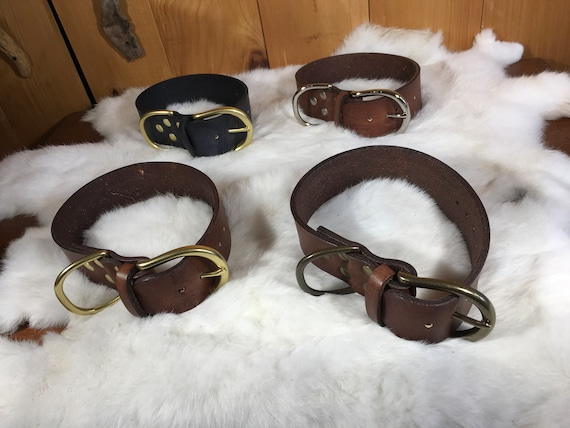"""Personalized 1.5"""" Wide Leather Dog Collar With Traditional Buckle"""