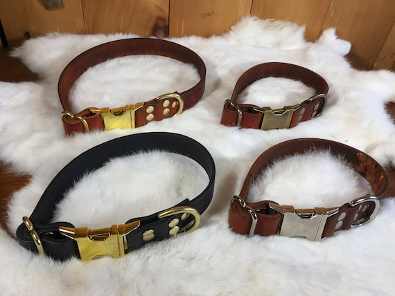 Personalized Leather Dog Collar With Quick-Release Buckle