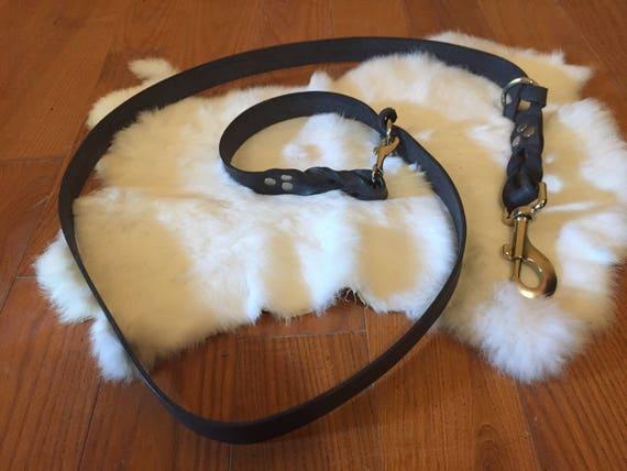 Hands-Free Black Leather Dog Leash