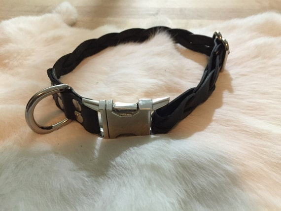Black Braided Leather Dog Collar with Quick-Release Buckle