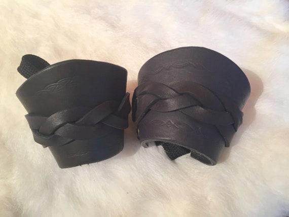 Women's Braided Black Leather Cuff Bracelets