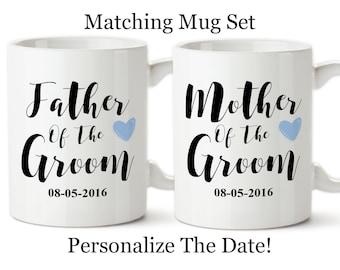 Matching Mug Sets, Mother Of The Groom, Father Of The Groom, Parents Of The Groom, Grooms Parents Gift, Wedding Mug Sets,Wedding Reveal Mugs