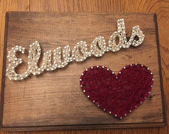 Custom Made-to-Order Family Name String Art (with heart)