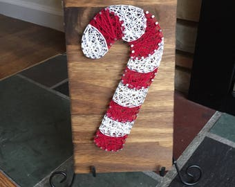 Custom Made to Order Christmas Candy Cane String Art