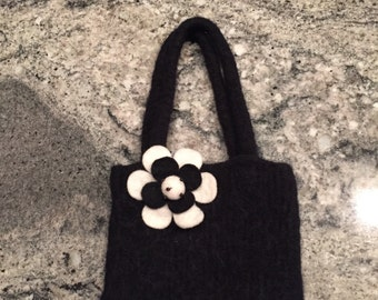 Made to Order Felted Handbag with Flower