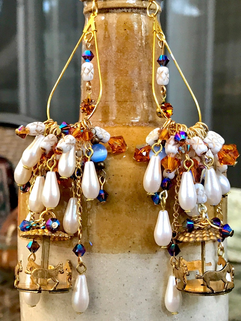 Gorgeous drop earrings with a Carousel of horses and a Circus of Crystals!!!