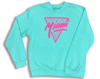102acc96d90d21 Miami vintage sweatshirt soft cozy sweater pullover crewneck cute cosy high  quality screen print Florida 80s style neon colours