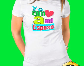 Woman with digital print t-shirt - I love my husband in full color