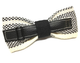Black and white PAPILLON with imitation leather strap, bow tie men adjustable bowtie