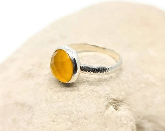 Yellow chalcedony solitaire sterling silver ring, cushion cut yellow chalcedony stacker ring statement yellow gemstone solitare stacker ring