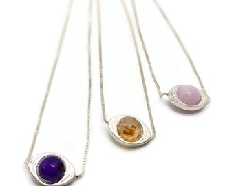 Sterling silver gemstone eye necklace, Kunzite eye pendant, amethyst eye necklace, champagne swarovski eye necklace, gemstone necklace