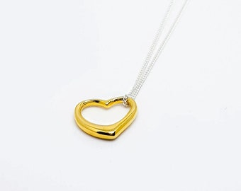 Sterling silver open heart necklace, yellow gold plated heart.