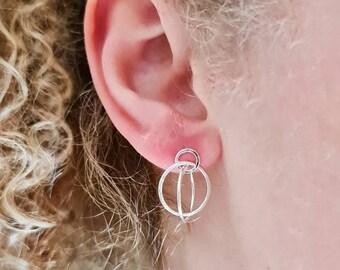 Sterling silver hoop earrings, silver triology hoop earrings, hoop earrings, stud earrings with hoops, contemporary hoop earrings