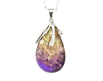 Sterling silver violet ombre baltic amber pendant and chain, violet ombre amber pendant with sterling silver organic freeform style bail