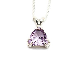 Sterling Silver Rose de France Amethyst trillion cut solitaire pendant and chain, soft pink amethyst trillion cut pendant, solitaire pendant