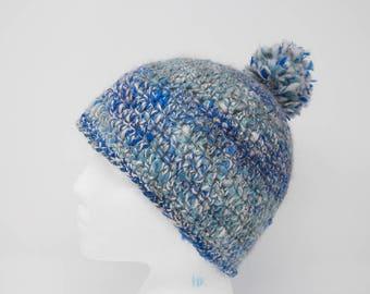 bde96f4940c Handspun Yarn Hat - Blue Pom Pom Hat - Angora Merino Hat - Blue Angora Hat  - Wool Crochet Hat - Angora Wool Hat - Crochet Pom Pom Hat