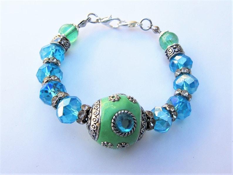 beaded medical ID alert replacement bracelet Blue and green medical ID alert replacement bracelet Medical alert replacement bracelet