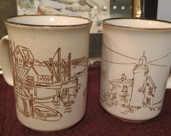 Childhood Memories! TWO COREE Va Au Lave-Vaisselle Fait A La Main Mugs Cups Coffee Collection MANOIR Hand Crafted