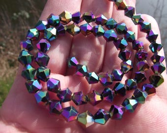 5 BEAUTIFUL BEADS HAVE FACETED GLASS. RAINBOW. 6 X 6 MM.