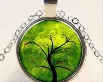 1 PENDANT WITH CHAIN PHOTO TREE CABOCHON GLASS BEADS TIBETAN SILVER. AN47