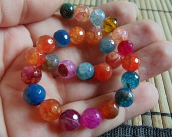 5 BEAUTIFUL BEADS 8MM COLORFUL AGATE.
