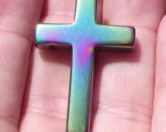 Pearl cross pendant 34 X 23 X 4 MM multicolor Non magnetic Hematite.