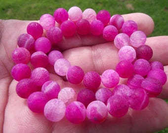 5 PEARLS VEINS DRAGON AGATE 8MM PINK MULTICOLOR FIRE.