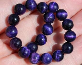 Beads purple Tiger Œil darken multicolored 8 MM round.