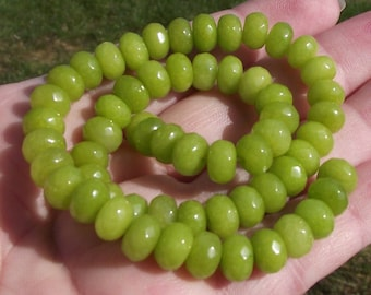 Peridot beads faceted 8 X 5 MM.