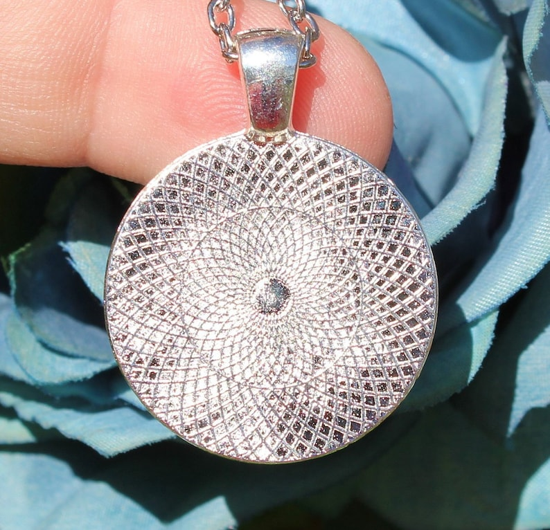 Tibetan silver Photo glass Cabochon pendant. Brushes with chain