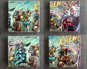 X-Men Stone Coasters, Set of 4, Handmade, Travertine Stone, Geek Decor Gift, Wolverine, Magneto, Xmen, Comic, Superhero